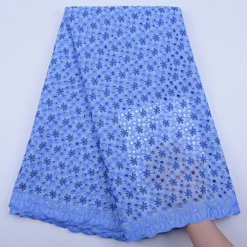 Sky Blue African Cotton Lace Fabric 2019 High Quality Swiss Voile Lace In Switzerland Embroidery Swiss voile Lace Fabric S1751