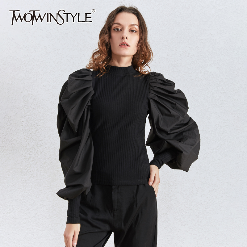 TWOTWINSTYLE Patchwork Knitting Women's Sweaters O Neck Puff Long Sleeve Tunic Ruched Female Sweater Clothing Fashion 2020 Tide