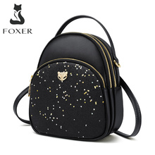 FOXER Glett Design Mini Female Backpack Split Leather Multilayer Space Women Shoulder Bag New Fashion Tote Girl Valentines Gift