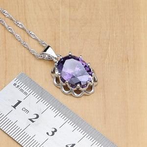 Image 4 - טבעי כסף 925 תכשיטי סטי סגול מעוקב Zirconia אבן לנשים עגילים/תליון/שרשרת/פתוח טבעות/צמיד