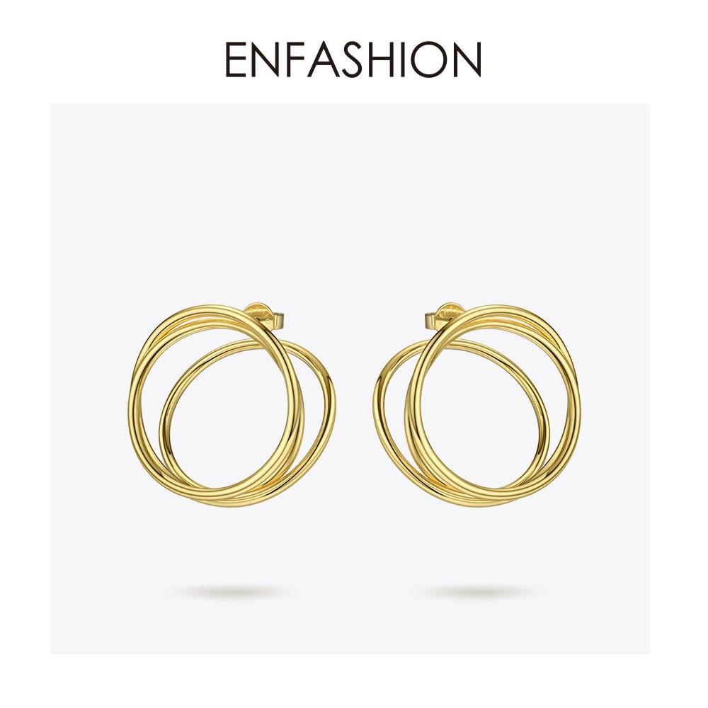 Image 2 - ENFASHION Multi layer Circle Stud Earrings For Women Punk Geometric Simple Line Earings Statement Fashion Jewelry Oorbellen 1032Stud Earrings   -
