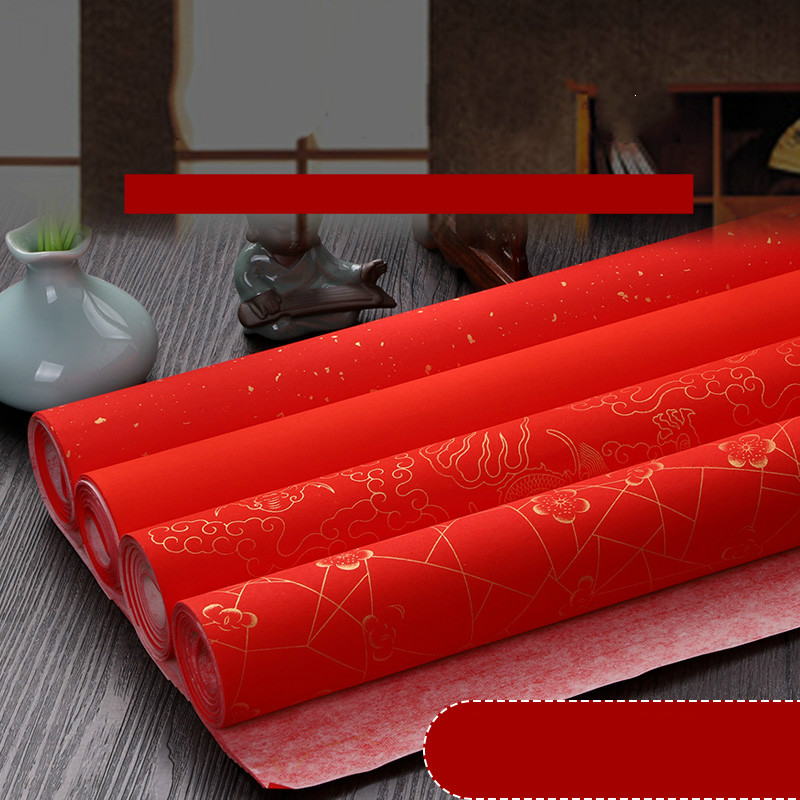Thicken Red Xuan Paper Chinese Spring Festival Calligraphy Paper 10pcs Chinese New Year Traddtional Red Xuan Paper Rijstpapier