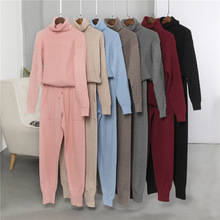 2020 New Knitted Tracksuit Turtleneck Pullover Sweatshirts Women 2 Piece Sets Knitted Pants+Jumper Suit Sporting Clothing Set