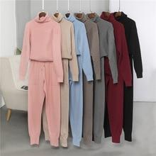 2020 nova malha agasalho gola alta pulôver camisolas das mulheres 2 peça define calças de malha + jumper terno conjunto roupas esportivas