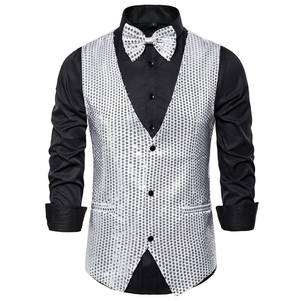 Stylish Men's Shiny Sequins Blazer Vests Men Sleeveless Bowknot Slim Fit Formal Suits Blazer Pockets Coat Tops Coat Jacket Tops