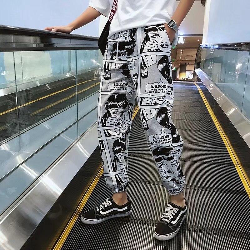 South Korea INS Super Fire Hiphop Xi Ha Ku Harajuku Street Loose-Fit Sports Pants Men And Women Ankle Banded Pants