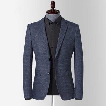 Men's Spring Autumn Blazer Jacket Youth Blazer Grid Suit Jacket Slim Fit Blazers Coat Business Wedding Casual Overcoat Clothing