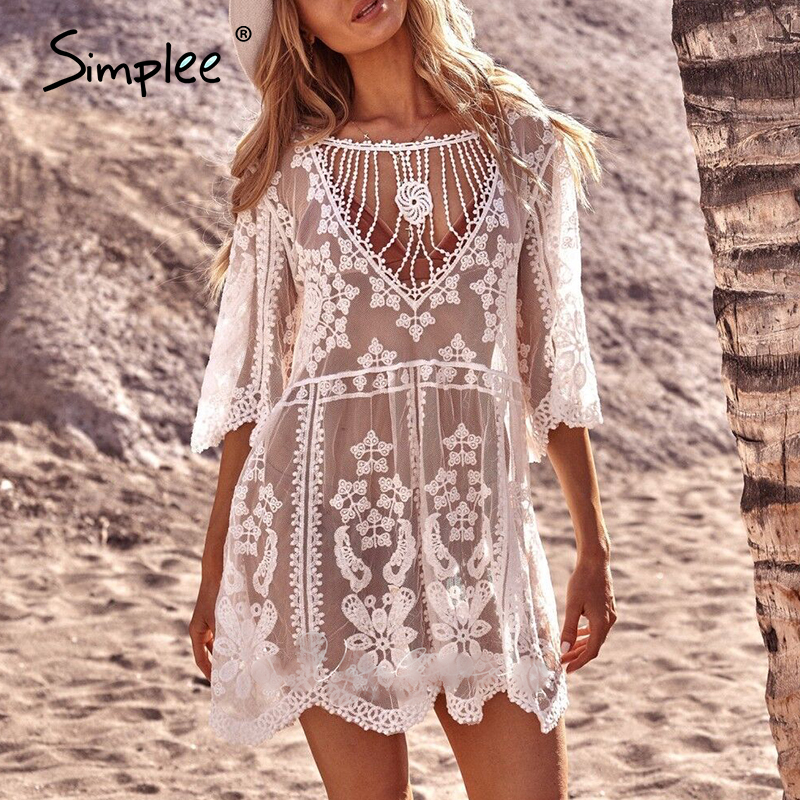Simplee Hollow Out Sexy White Lace Cover-ups Women Beach Holiday Loose See Through Cover-ups Women Hollow Out Sundress