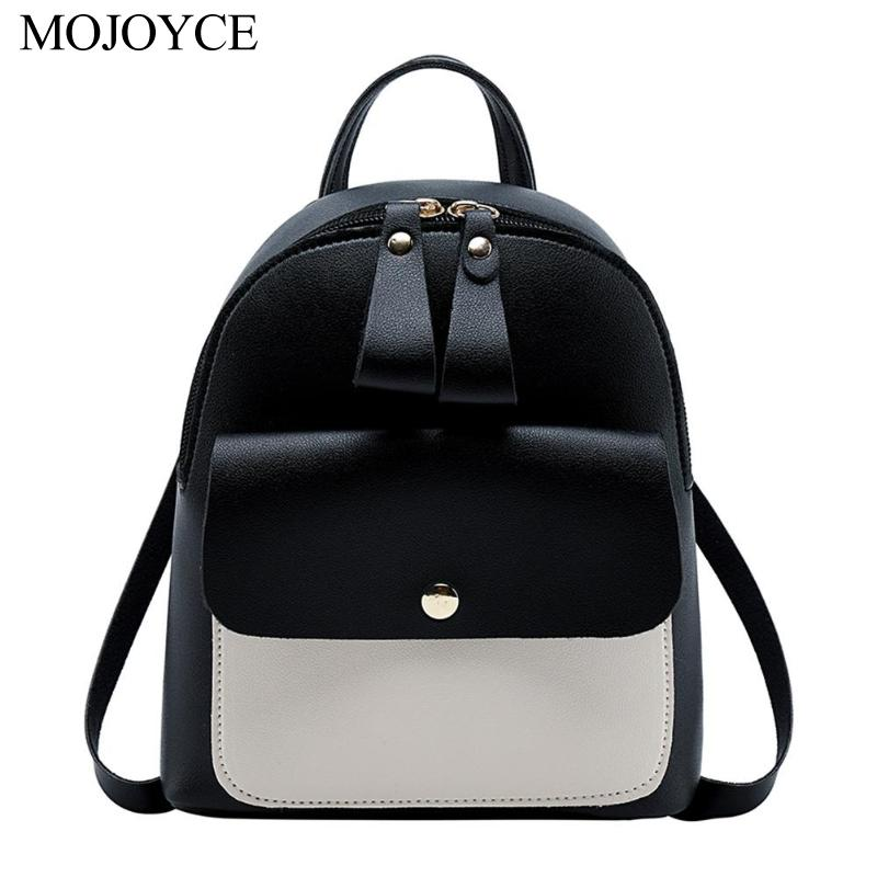 Mini Hit Color <font><b>Backpack</b></font> Women Korean Style PU <font><b>Leather</b></font> Shoulder Bag Casual Travel Rucksack Satchel Ladies Small School Bags image