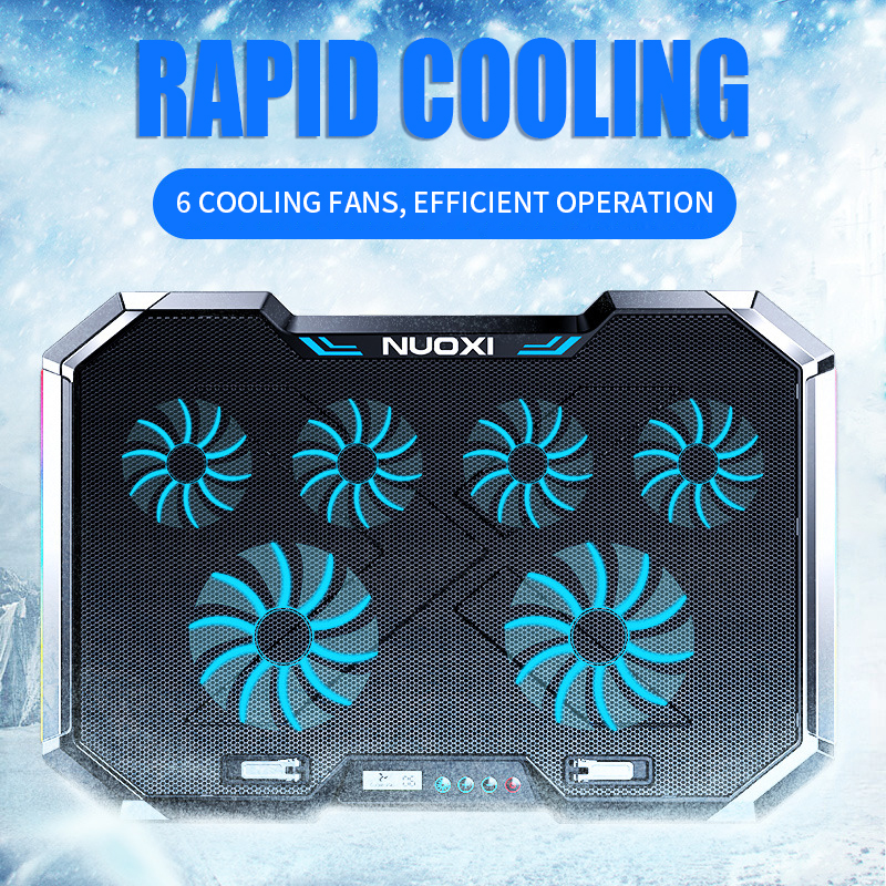 laptop cooling pad notebook stand Height Adjustable Led Screen light six fan 2 USB accessories 12-18inch Gaming Laptop Cooler