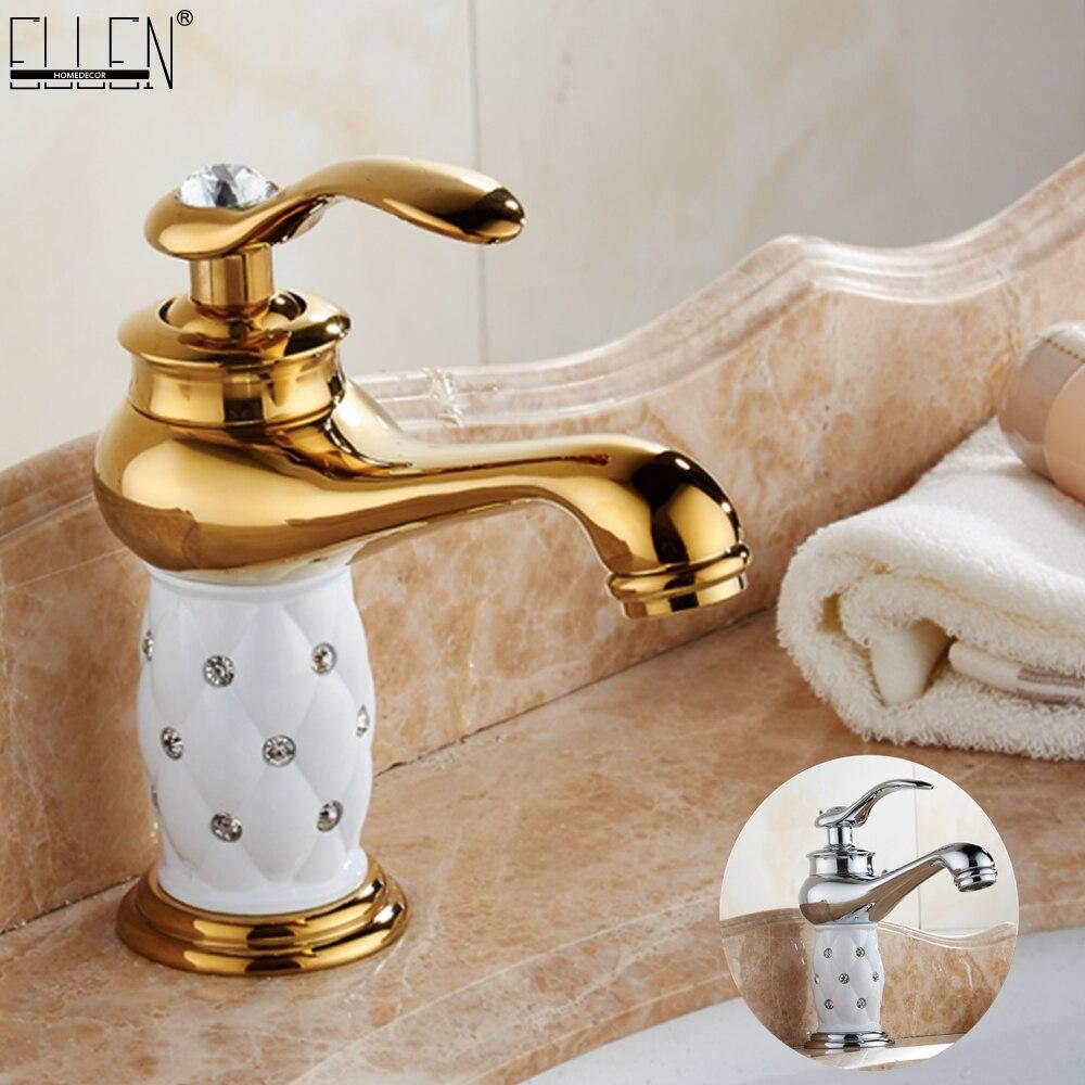 Vidric robinet d'évier de salle de bain or mélangeur d'eau froide chaude grue avec corps de diamant cuivre robinet doré ELCTOO2