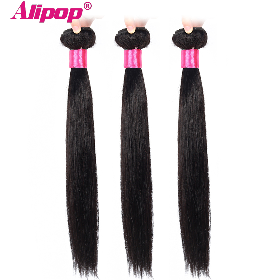 Alipop Hair Peruvian Straight Hair Bundles Human Hair Bundles 3 Bundle Deals Double Weft Remy Hair Extension Natural Color-in Hair Weaves from Hair Extensions & Wigs