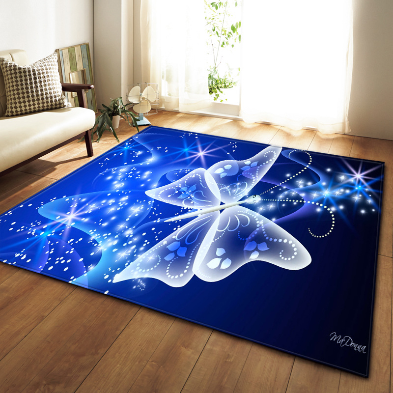 Modern Large Carpet 3D Dream Unicorn Butterfly Jellyfish Carpets For Living Room Bedroom Area Rugs Soft Flannel Home Decor Mats