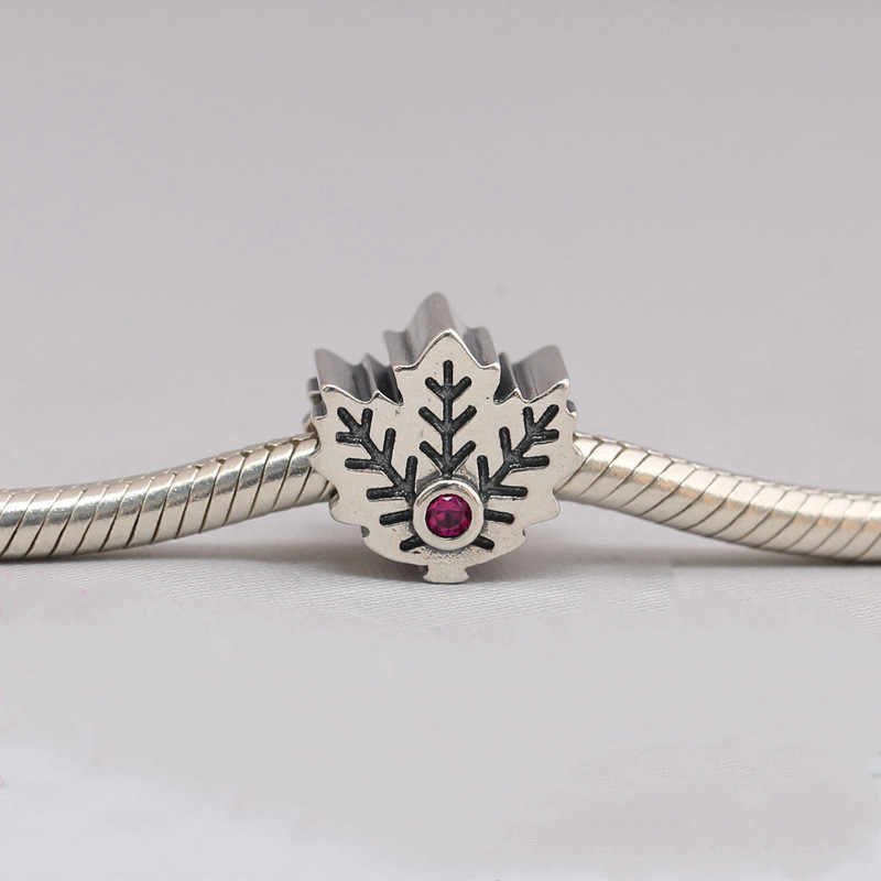 Codemonkey 100% real 925 prata esterlina maple leaf encantos contas caber original 3mm pulseira pingente diy jóias fazendo cms311