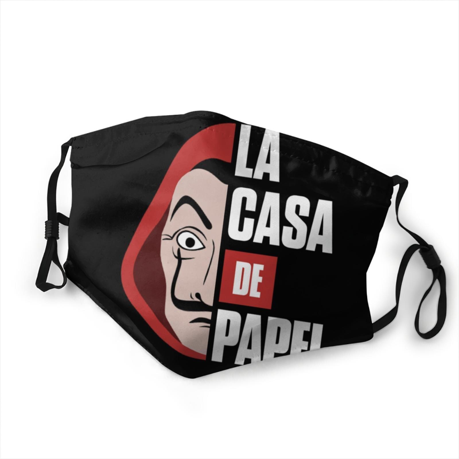 Masque anti-poussière personnalisé pour femmes et hommes, t-shirt la casa de papel, filtre à air, costume, 2020