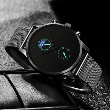 2020 Men Watch Men Black Business Stainless Steel Quartz Wristwatch Luxury Male Clock relogio masculino erkek kol saati 2