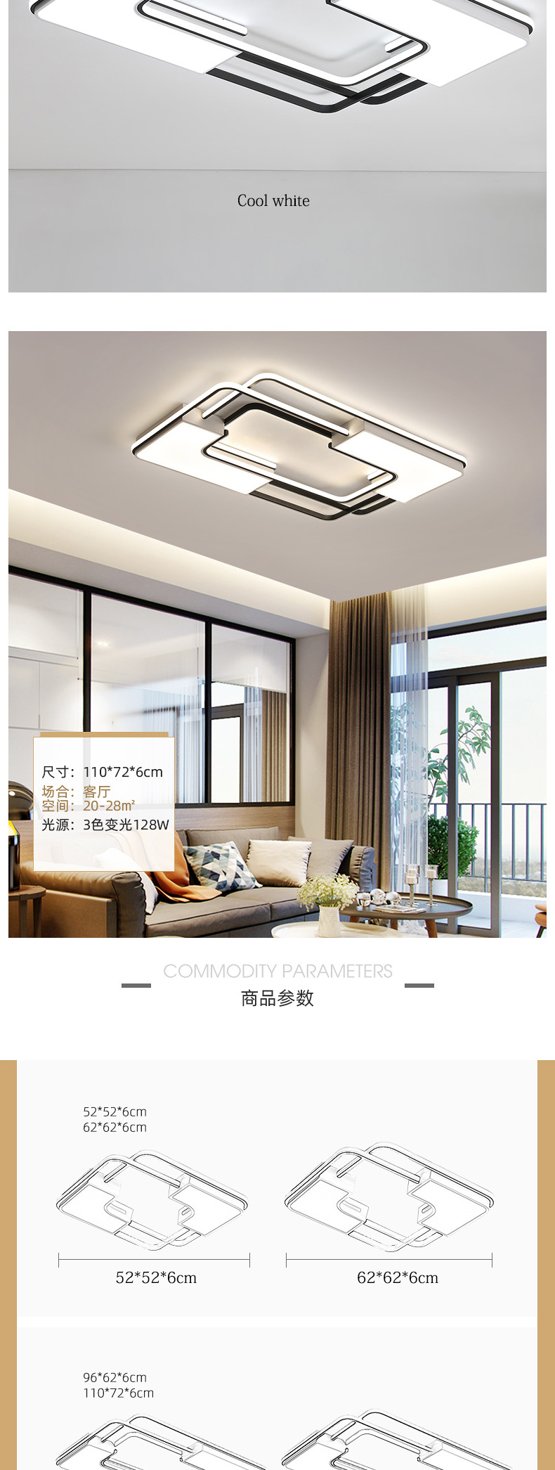 Hd2c3ba7bc81f4eaf8f37bc19927e5fdfk Modern Flush Ceiling Lights | White Ceiling Lights | New Listing Square Modern LED Ceiling Lights For Living Room Bedroom Study Home indoor Acrylic Black White Ceiling Lamp Fixture 001