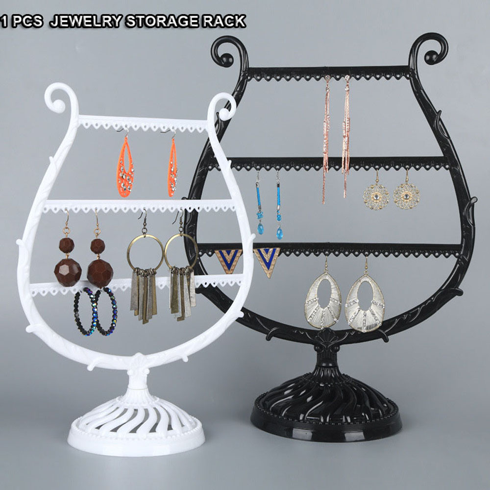 1 PC Necklace Earrings Holder Ear Studs Display Rack Jewelry Holder Stand Showcase Plastic Bracelet Jewelry Organizer