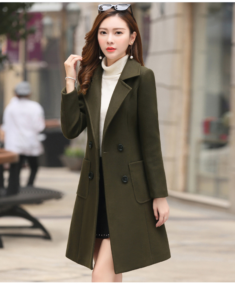 Woolen Women Jacket Coat Long Slim Blend Outerwear 2019 New Autumn Winter Wear Overcoat Female Ladies Wool Coats Jacket Clothes 7