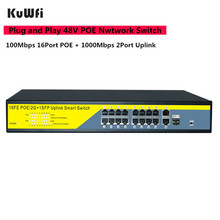 16Port POE Network Switch Gigabit 48V POE Switch RJ45 Hub LAN Splitters 10/100/1000Mbps Switcher ,Plug and Play ,Easy Setup