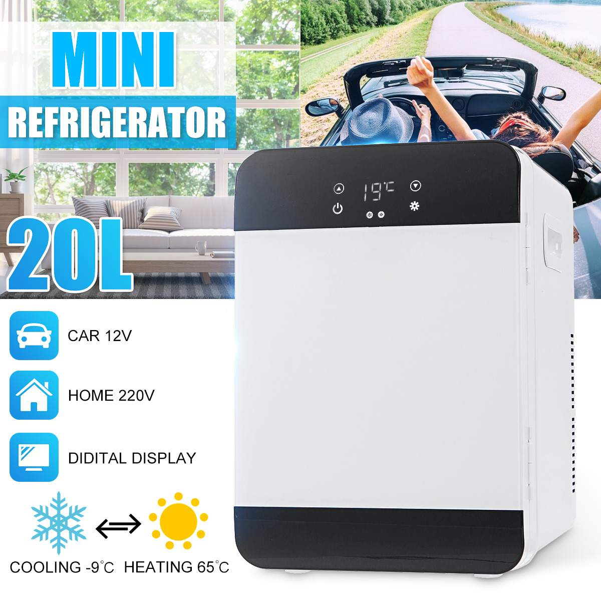 20L Mini Hot & Cold CNC Dual-core Refrigerator Car Refrigerator Small Home Dormitory Dormitory Car Dual-use Student Single-doo