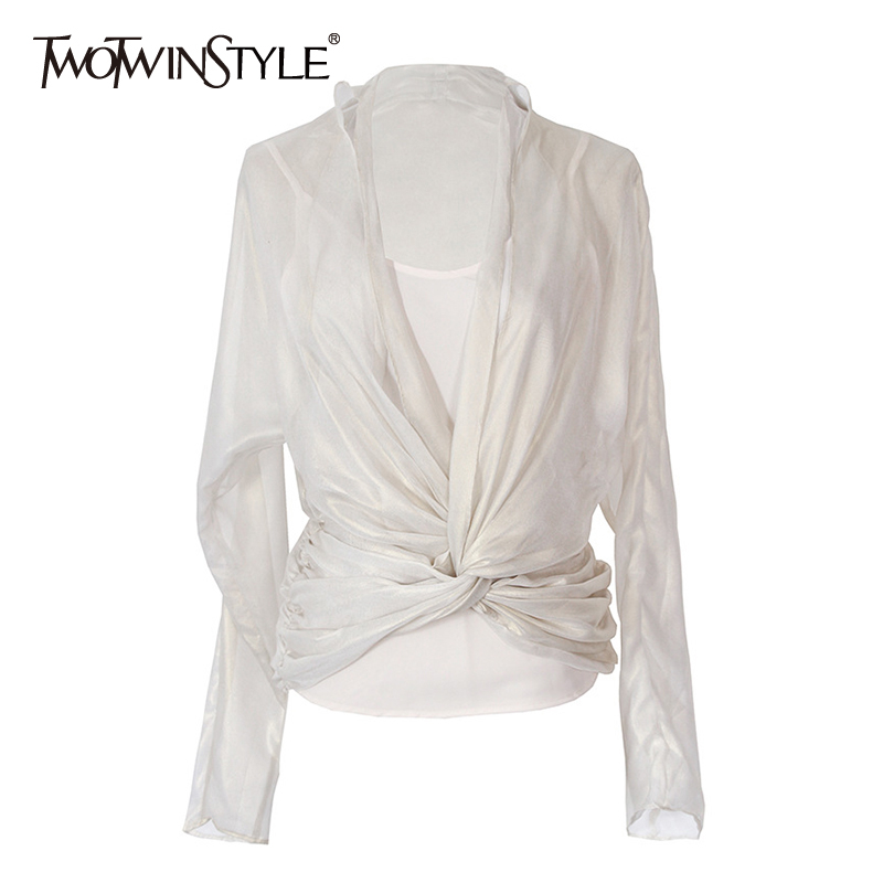 TWOTWINSTYLE Elegant Asymmetrical Ruched Women Shirt V Neck Long Sleeve Irregular Blouse For Female Fashion 2020 Summer Clothing