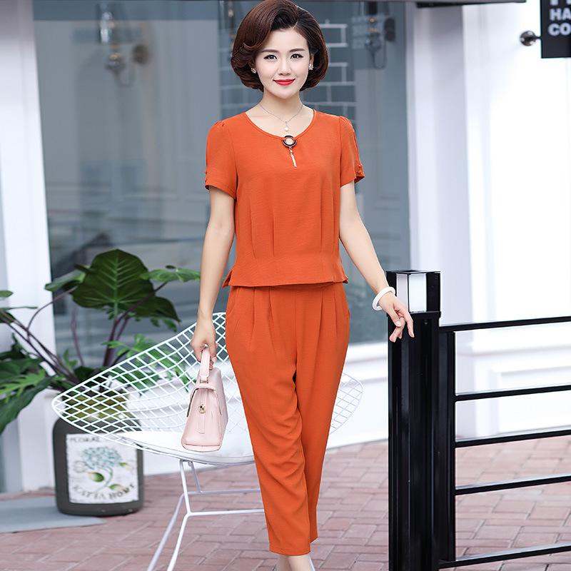 Mom Summer Wear Two-Piece Set Short Sleeve T-shirt Middle-aged WOMEN'S Apparels 2019 New Style Fashion Elegant Loose-Fit Summer