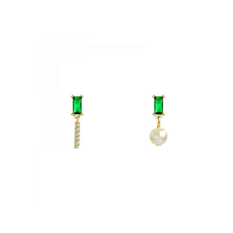 Pequeños pendientes de lujo ligero Cristal de Esmeralda verde perla asimétrica pendientes lindos para las mujeres