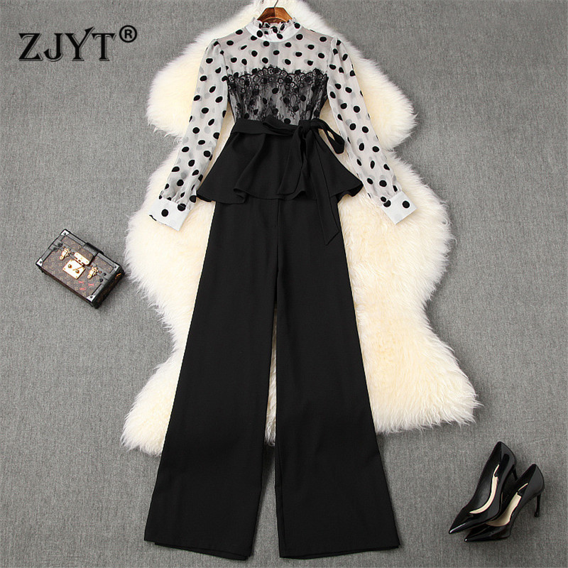 2020 New Spring Elegant Office Lady Pants Two Piece Outfits Fashion Dot Print Chiffon Blouse And Long Pants Suit Set OL Twinset