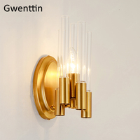 Modern Luxury Gold Wall Lamp for Living Room Nordic Glass Sconce Mirror Lights for Bathroom Bedroom Home Led Wall Light Fixtures