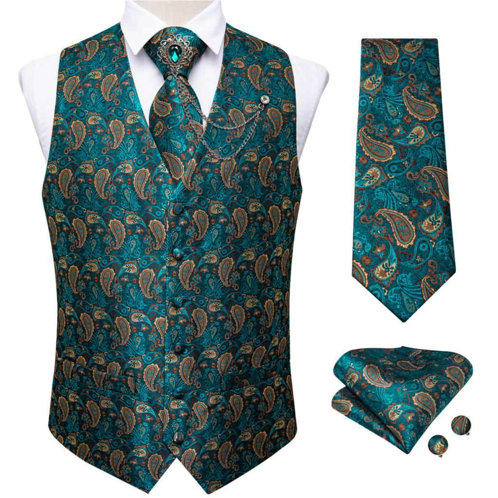New teal green paisley 100% silk formal dress vest men waistcoat vest wedding party vest tie brooch pocket square set dibangu 2