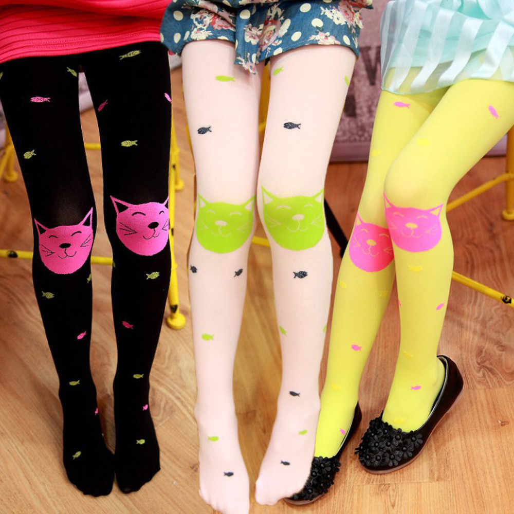 Kids Girls Pantyhose Stocking Autumn New High Quality Children Girls Tights Polyester Candy Colors Cute Cat Fish Tights &&8