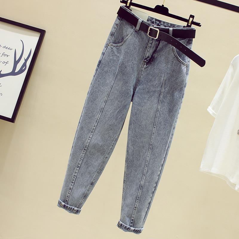 Women Harem Pants High Waist Jeans Autumn Loose Pockets Denim Trousers Sashes Blue Nine Jeans