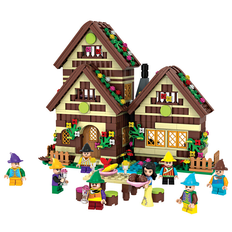 2019 NEW Princess Series Snow White Forest Cottage Building Blocks Sets Bricks Friends Model Kids Classic Movie Toys