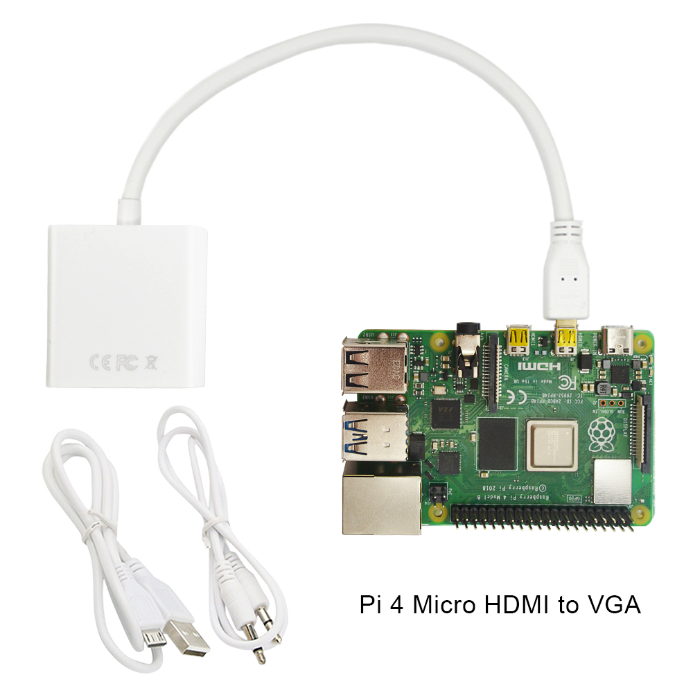 Raspberry Pi 4 Micro HDMI To VGA Adapter With USB Data Cable And With Audio Port Cable Or Computer, Desktop, Laptop, PC, Monitor