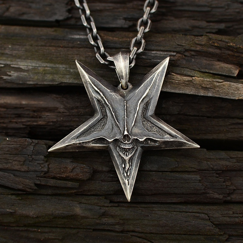 Vintage Thai Silver Men's and Women's Neo-Gothic Punk Style Fashion Five-Pointed Star Popular Pendant Necklace Gift
