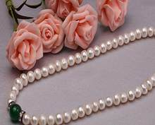 Jewelry Pearl Necklace 8.0-9.0 Pearl Necklace 100% Real Natural Freshwater Cultured Necklace With Natural Jade Nec Free Shipping(China)