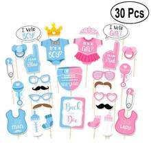 30pcs/set DIY Birthday Decoration Photo Props Baby Shower BOY OR GIRL Gender Reveal Party Decoration Frst Birthday Party Favor(China)