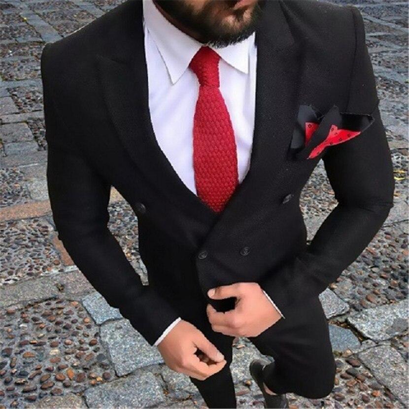 Italian Black Men's Suit Formal Double Breasted Men Suit Men Suit Wedding For Groom Tuxedos 2 Pieces(Jacket+Pants)