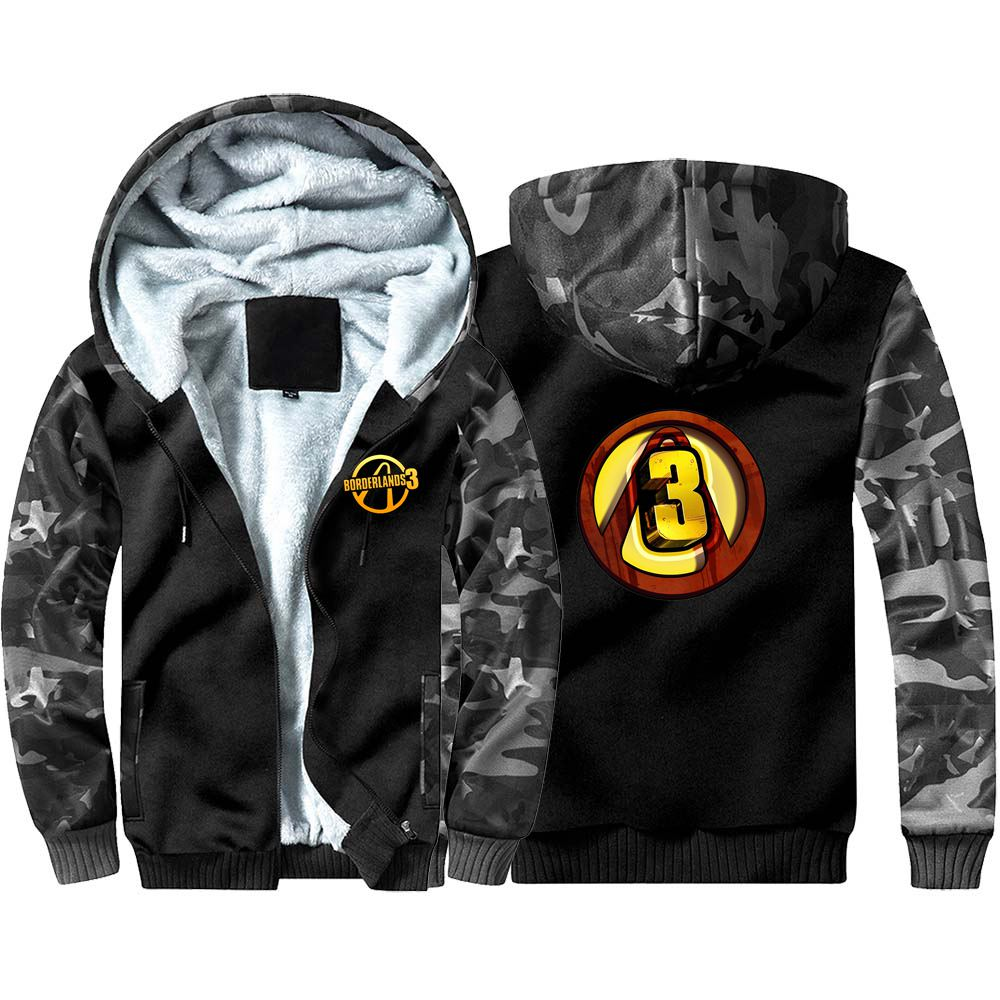 New Game Borderlands 3 Camouflage Hoodie Sweatshirts Winter Coat Cosplay Costume Anime Thicken Warm Hooded Men Clothing