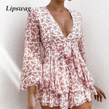 Women Sexy Deep V Neck Casual Jumpsuits 2021 Spring Floral Print Short Pants Romper Fashion Long Sleeve Bow Belt Party Playsuits