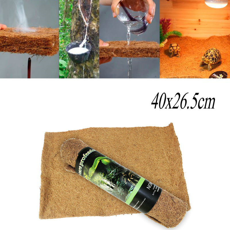 Reptile Pad Cushion Breathable Soft Natural Mat Habitat for Spider Lizard Snake Turtle Coconut Palm Small Reptile Supplies