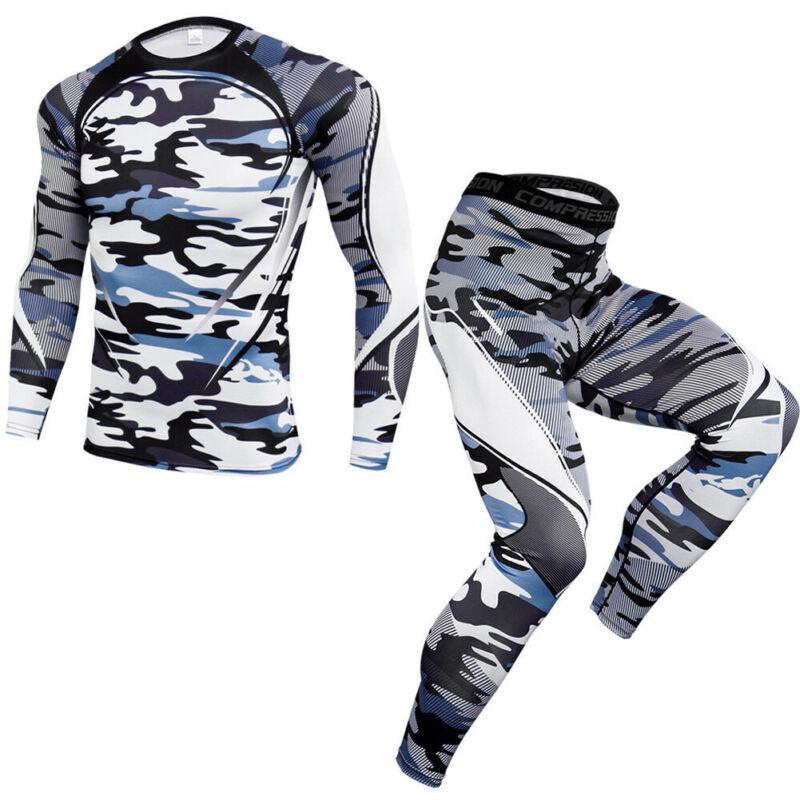 Men/'s Compression Base Layer Set Fitness Running Basketball Mock Shirt Legging