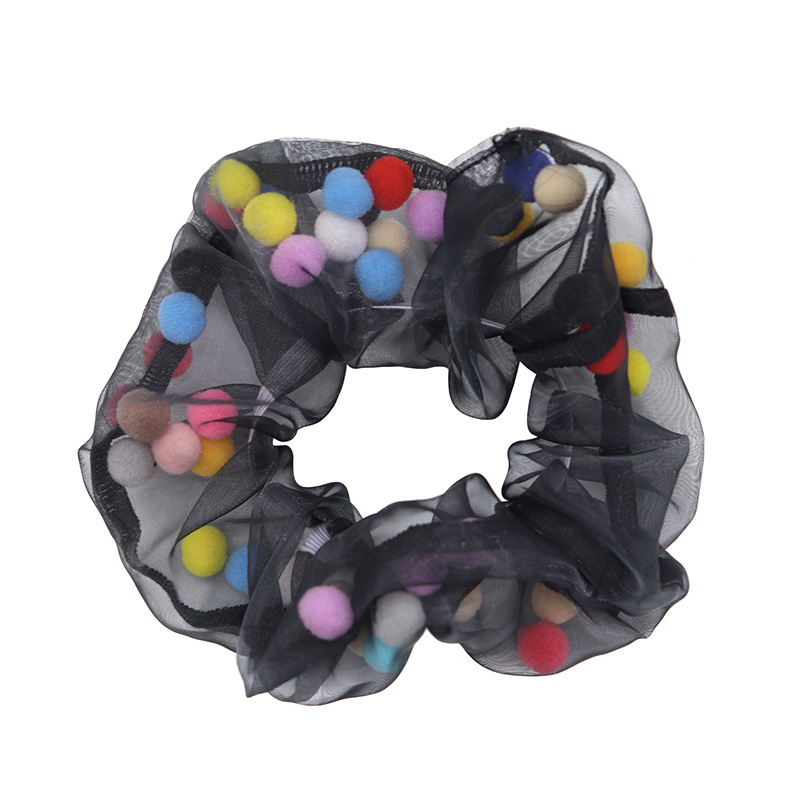Free Shipping Fashion Women Organza With Ball Hair Scrunchies Ins Girl's Cute Hair Bands Ponytail Holder Hair Accessories