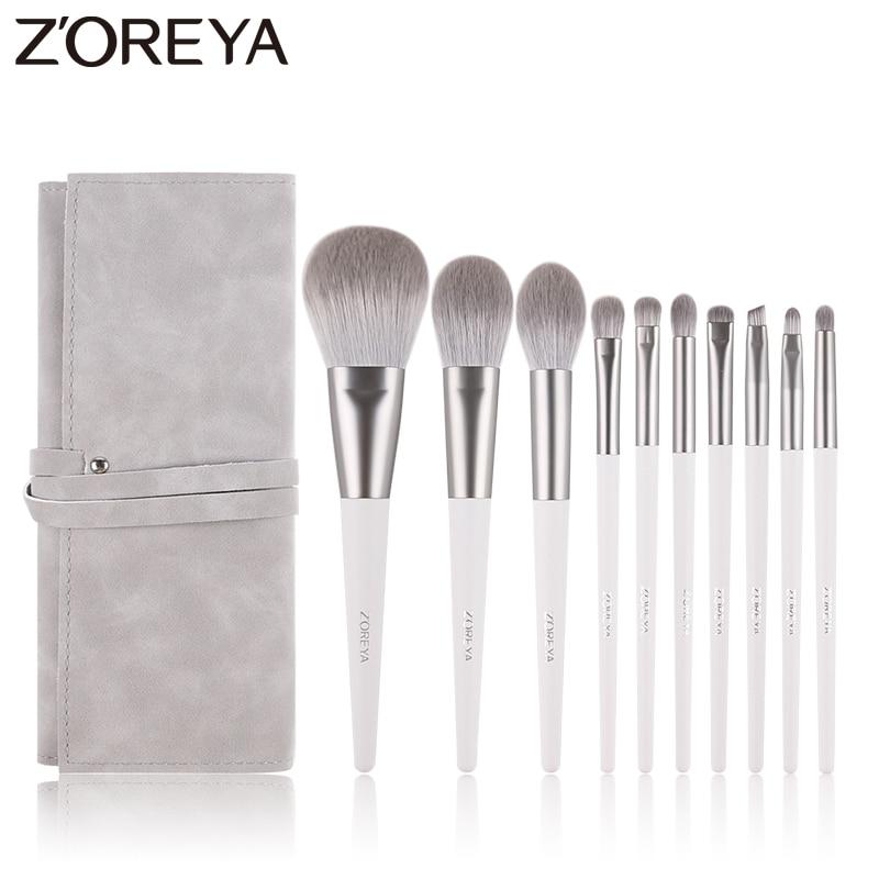 Zoreya Brand Soft Synthetic Hair Eye Shadow Brush White Handle Blending Blush Lip Powder Highlighter Makeup Brushes Set 10pcsEye Shadow Applicator   -