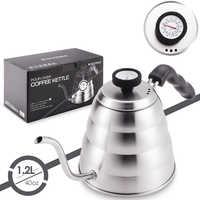 Bouilloire à café en acier inoxydable avec thermomètre, bec mince à col de cygne Pour verser sur une cafetière, fonctionne sur une cuisinière, 40 oz/1.25L