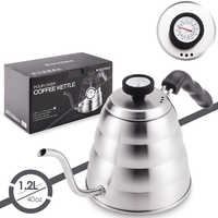 Stainless Steel Tea Coffee Kettle with Thermometer, Gooseneck Thin Spout for Pour Over Coffee Pot, Works on Stovetop, 40oz/1.25L