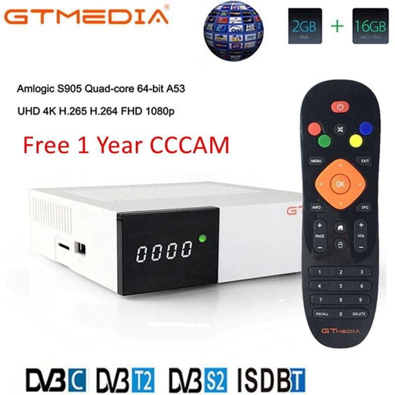 GTmedia GTC Receptor Android 6.0 TV BOX DVB-S2 DVB-C DVB-T2 Amlogic S905D 2GB 16GB +1 Year Cccam Satellite TV Receiver TV Box