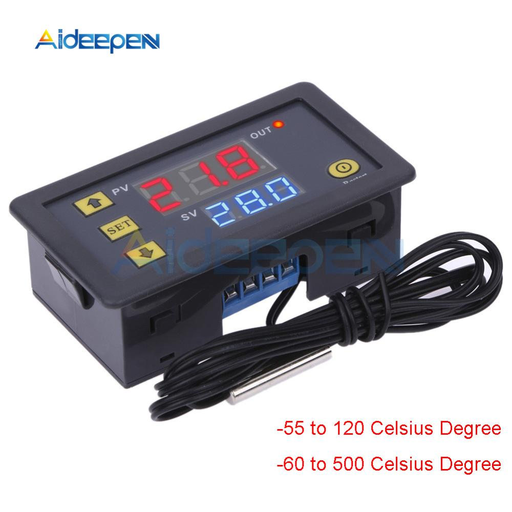 K-type Thermocouple Thermometer Thermostat -60°C~ 500°C Digital Temperature Controller Heating Cooling Switch NTC Sensor W3230