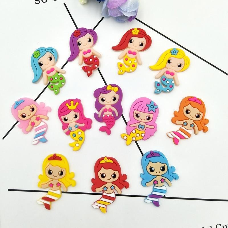 12pcs/lot Cute Mermaid Rubber Cartoon Flatback DIY Decoration Scrapbook Embellishment